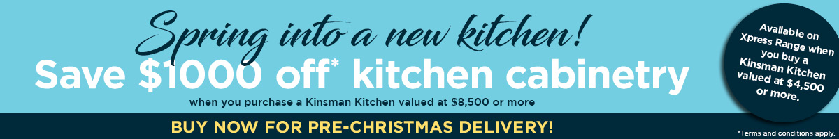 kinsman kitchen offer $1000 off kitchen cabinetry