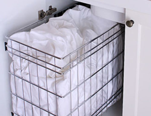 Laundry Wire Side Mounted Side-mounted wire basket. Size: 305mm W x 485mm D x 385mm H. Requires a 400mm W cabinet or larger