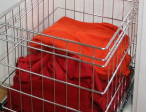 Laundry Wire Pull-Out Pull-out wire basket. Size: 398mm W x 400mm D x 400mmH. Requires a 500mm W cabinet.